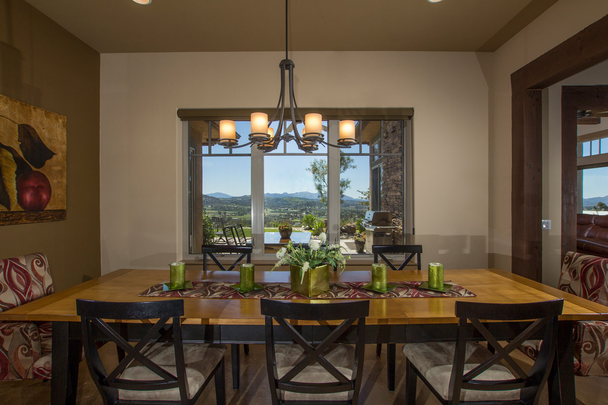 The Dining Room has a large picture window which looks out to the Laguna Mountains.