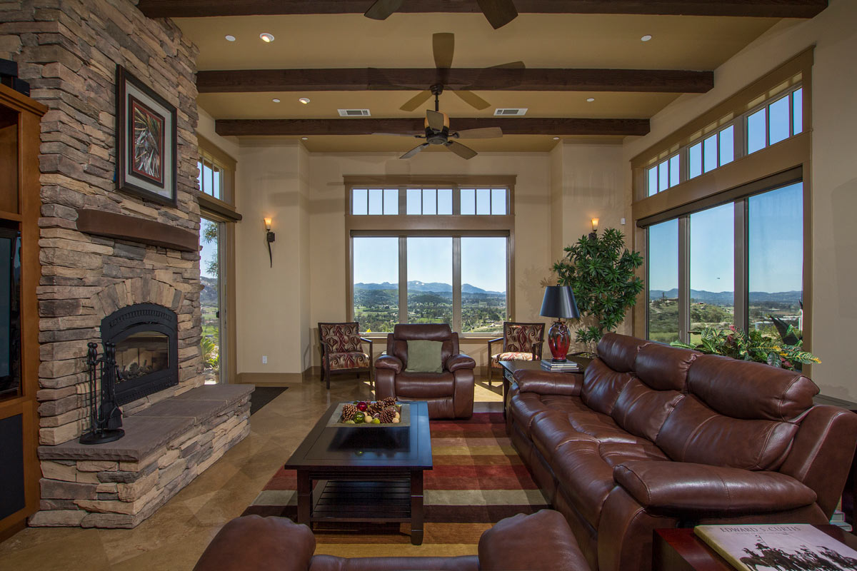 The Great Room has huge picture windows that take full advantage of the panoramic view of the valley and local mountain ranges.