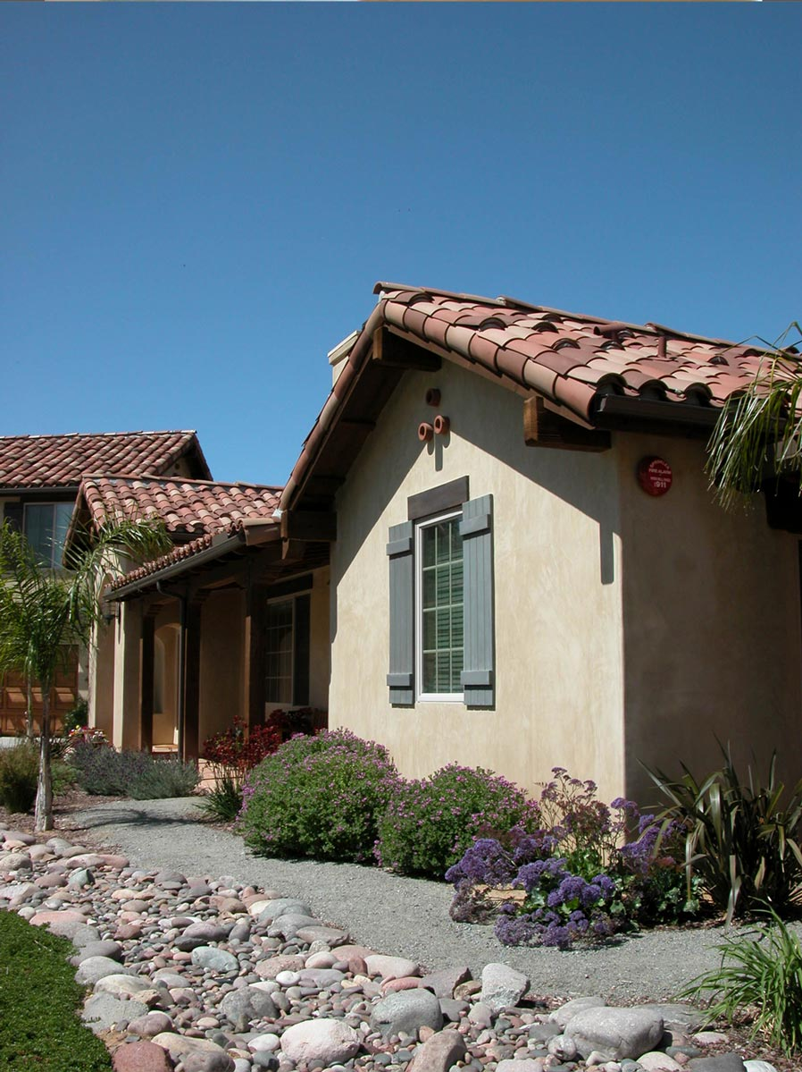Front views of drought tolerant landscape.