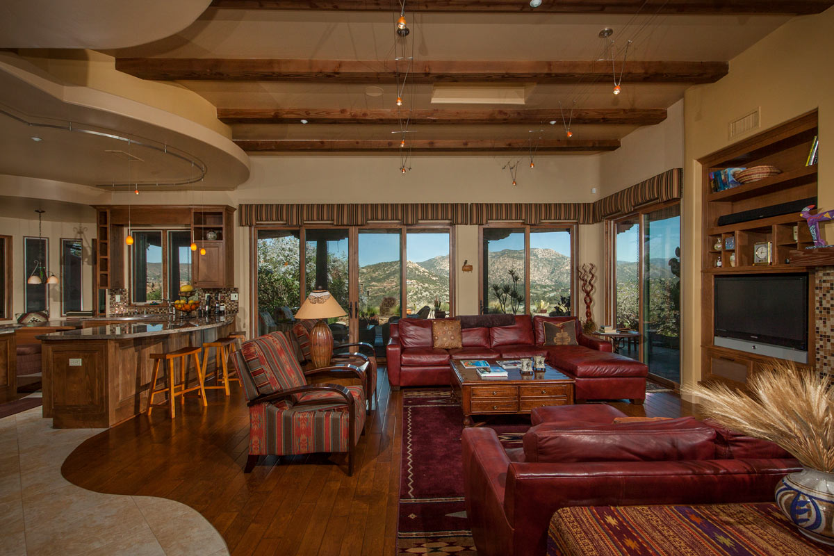 Great Room with view of the San Vicente Golf Course and Laguna Mountain Range.