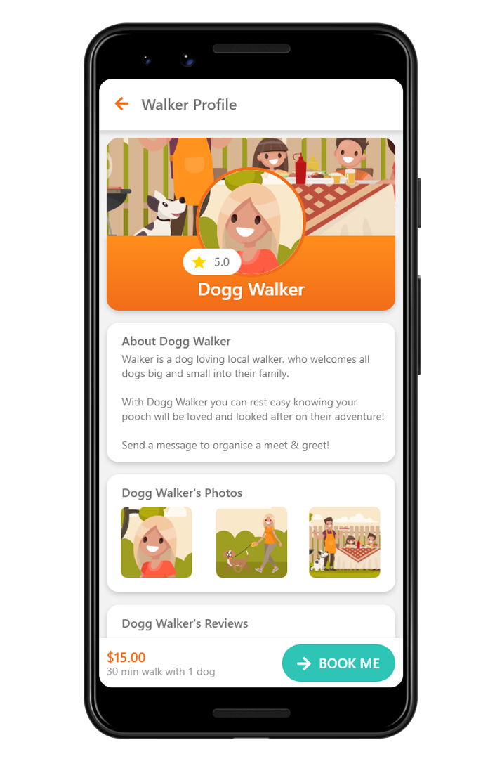 A demonstration screenshot of a walkers profile on the Dogg app.