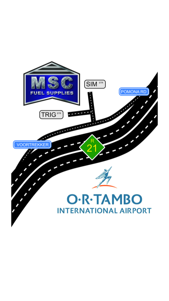 Situated in prime position, just 2.6 km from the O.R Tambo International cargo bay, with easy access to the R21 and major routes to and from Nelspruit, MSC Fuel Supplies aims to offer a complete solution for all long-haul stopovers and refuelling requirements.
