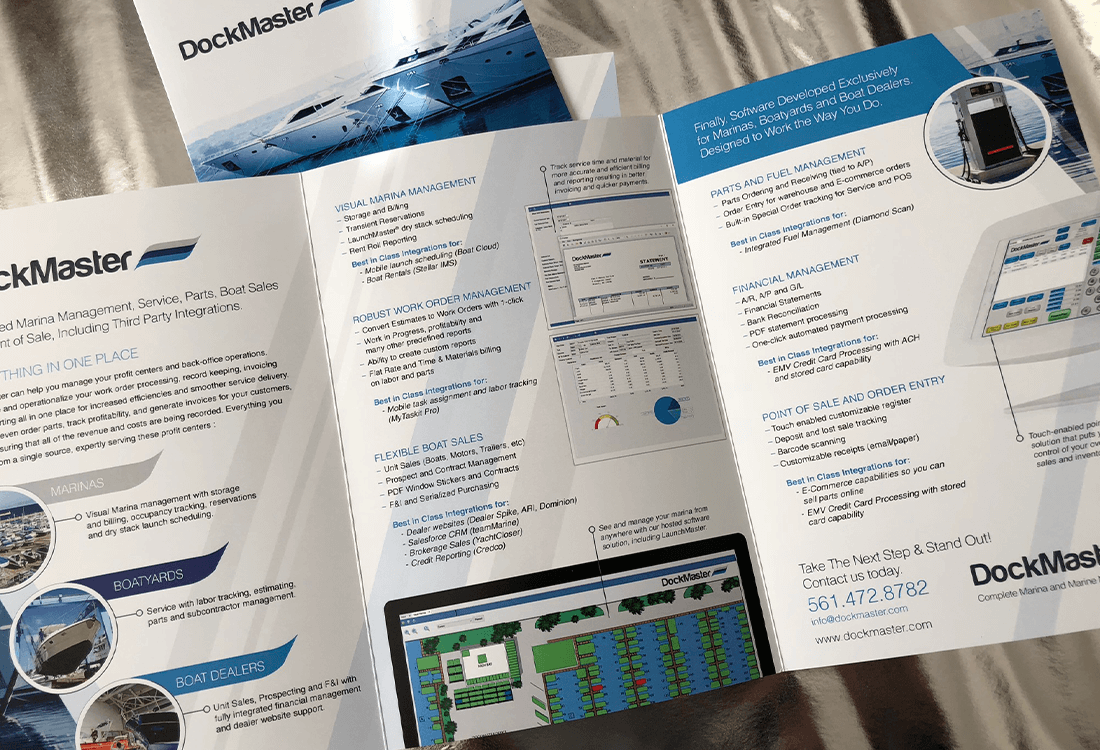 We were excited to get right to work on the Dockmaster brochure. Of course things get a little easier when you are working with the first and only complete marina and marine management system for marinas, boatyards and boat dealerships.