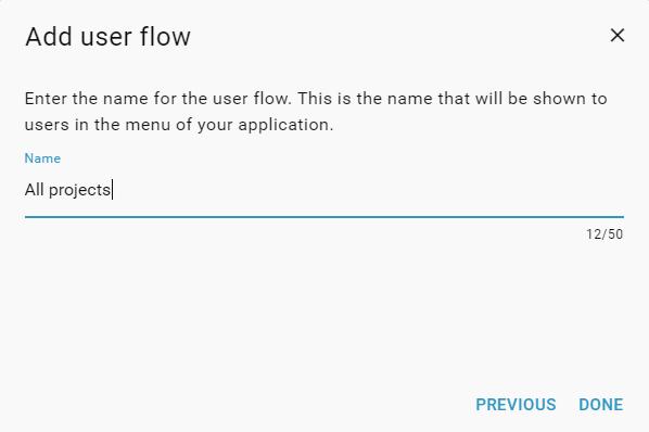 User flow wizard - type name
