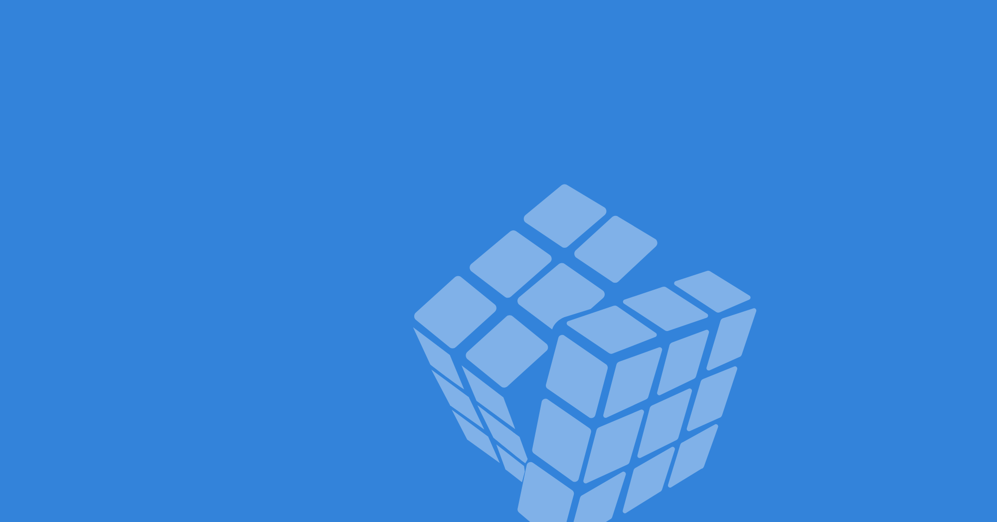 Pale blue Rubik's cube with one layer turning over a blue background.