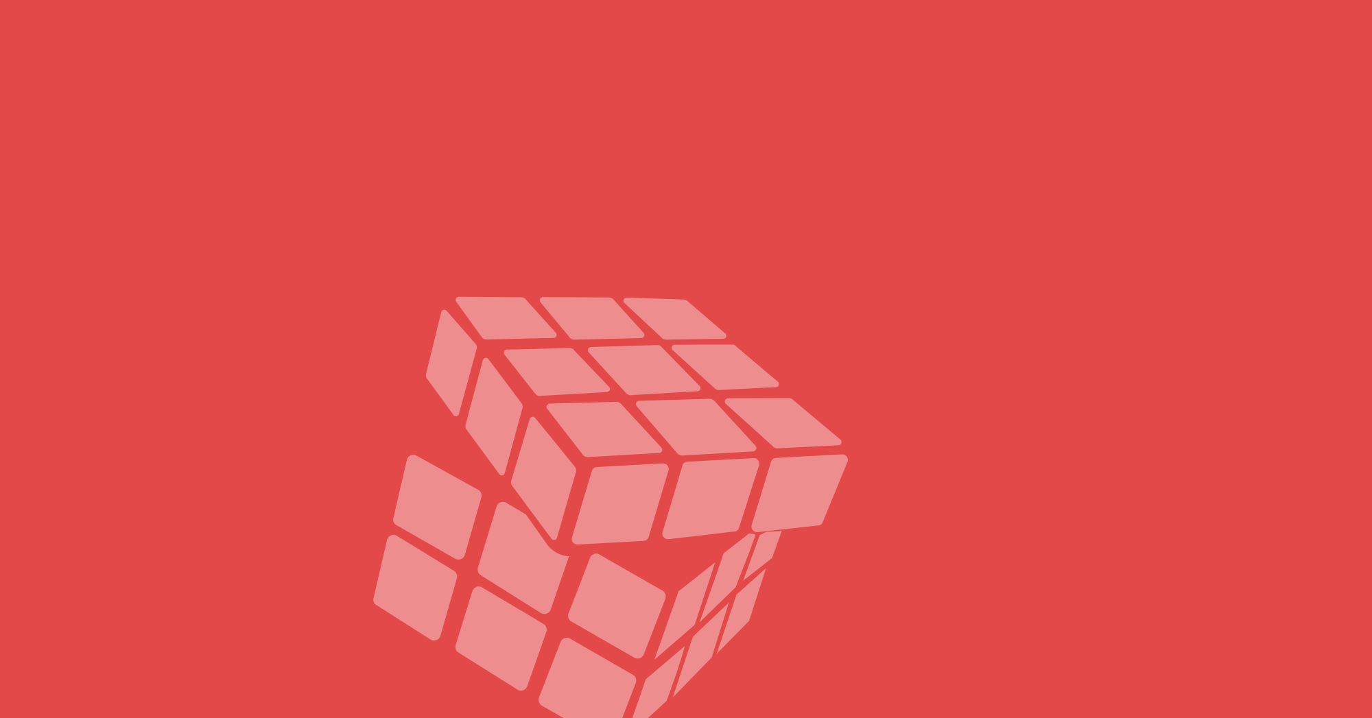 Pale red Rubik's cube with one layer turning over red background.