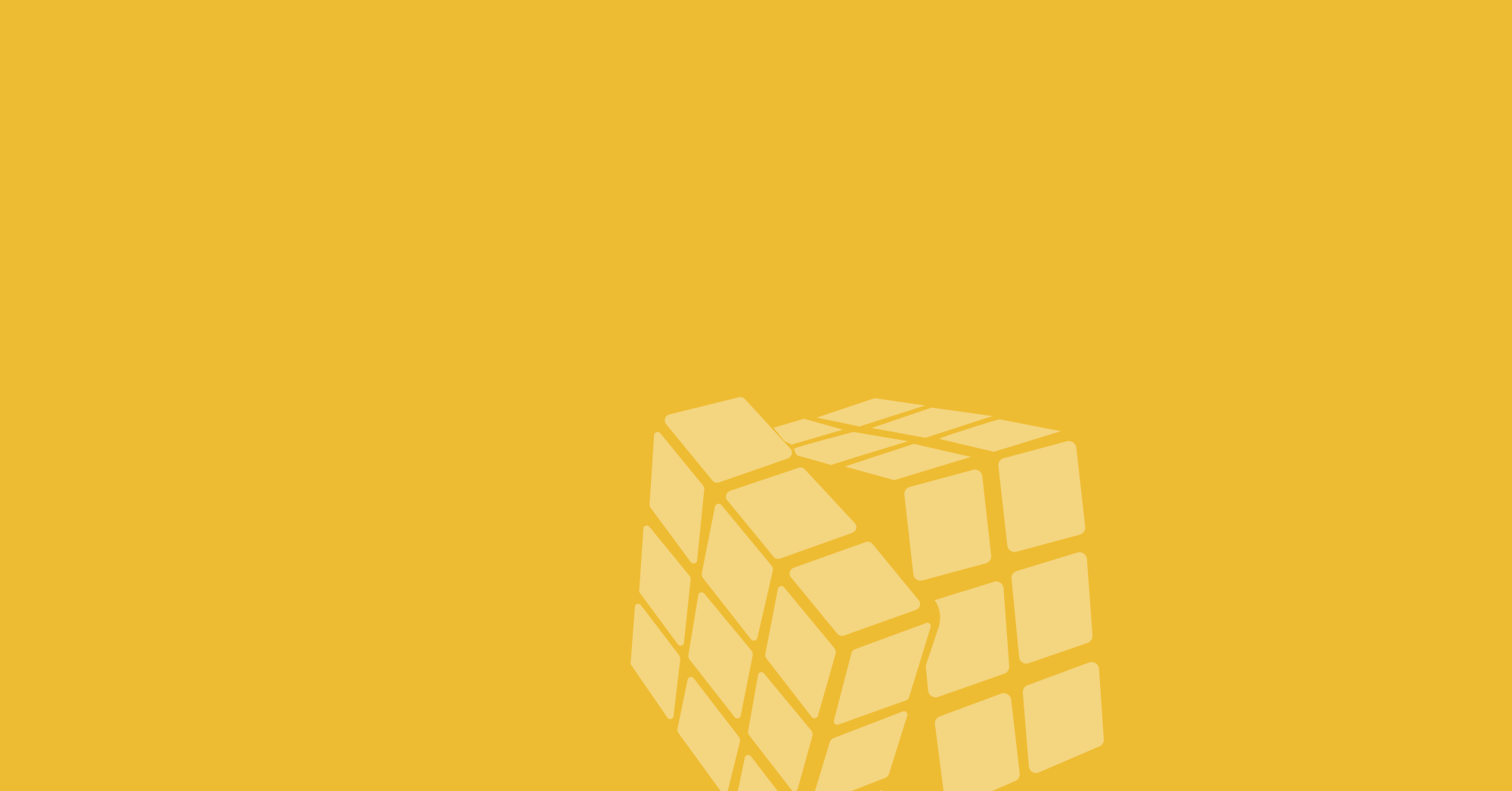 Pale yellow Rubik's cube with one layer turning over yellow background.