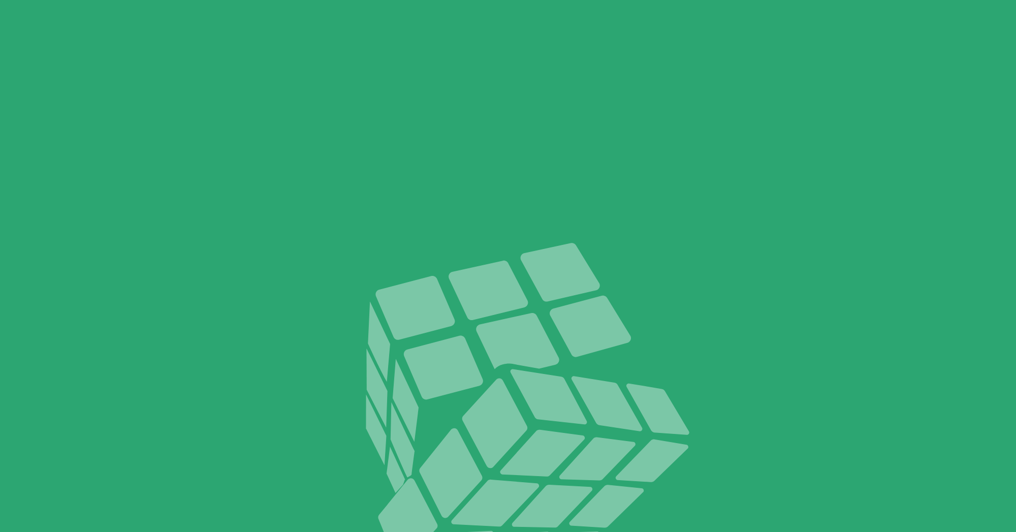 Pale green Rubik's cube with one layer turning over green background.