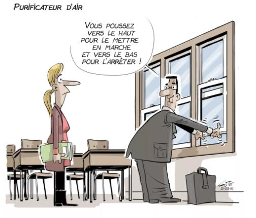 Caricature sur les purificateurs d'air dans les écoles du Québec