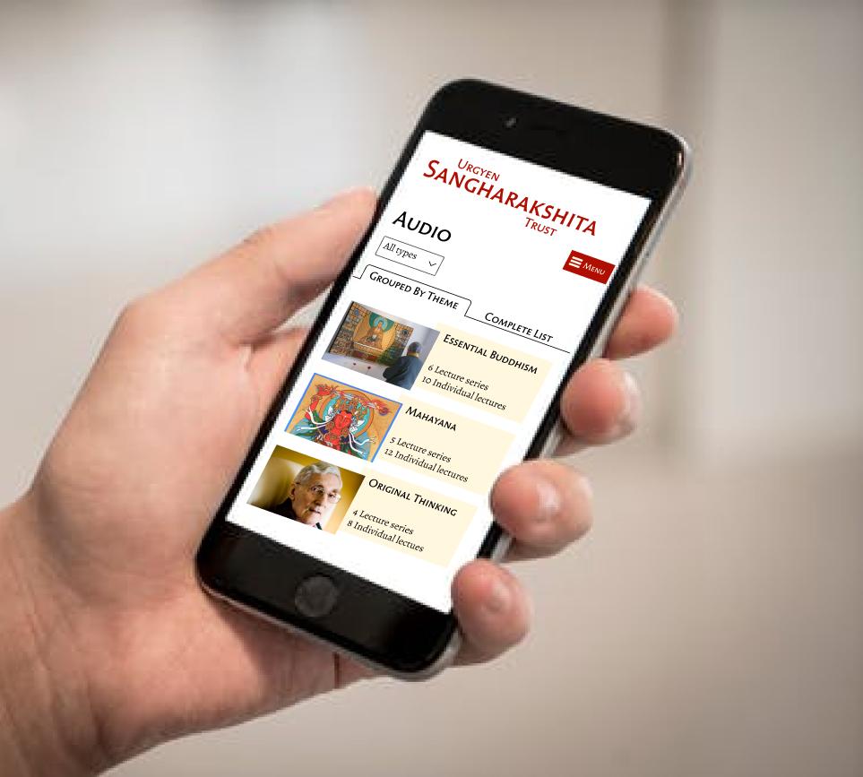 An iPhone showing categorised lectures on Sangharakshita.org