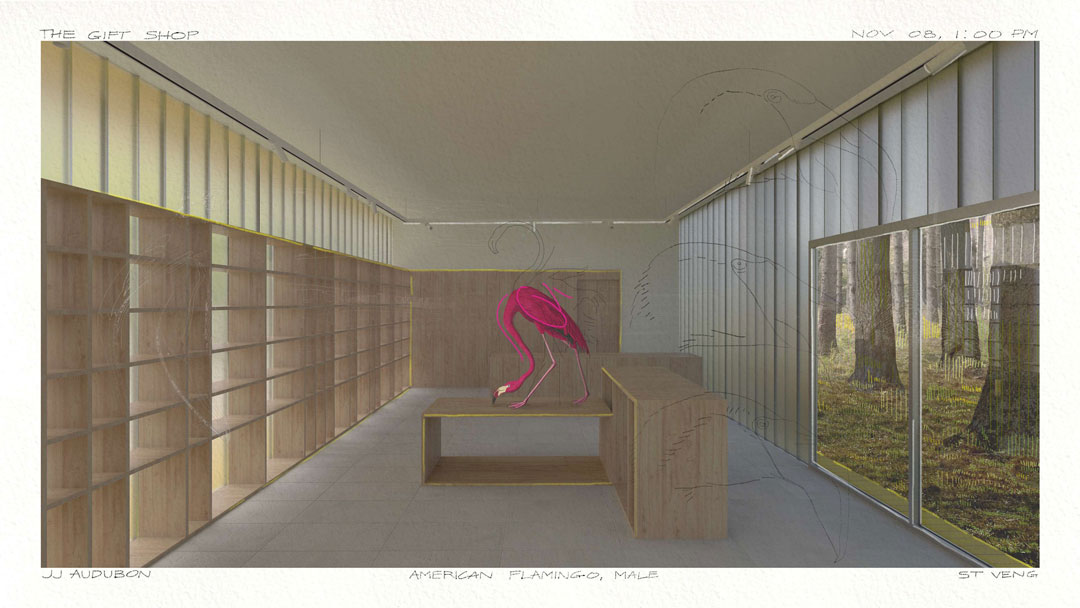 A perspective rendering of the interior of a gift shop. A pink flamingo stands on top of a pedestal in the middle of the room.