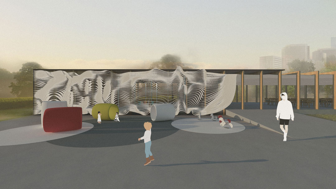 A perspective rendering of a building facade. The curving louvers become a backdrop for the playground in front.