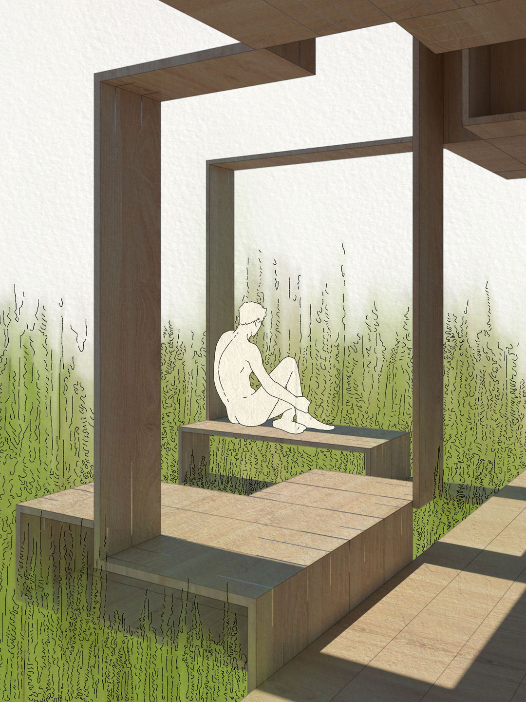 A perspective rendering of a pavilion. A man is sitting alone looking out into the distance.