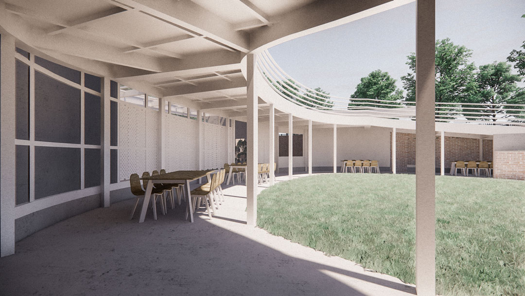 A perspective rendering of a hallway in front of a field house.
