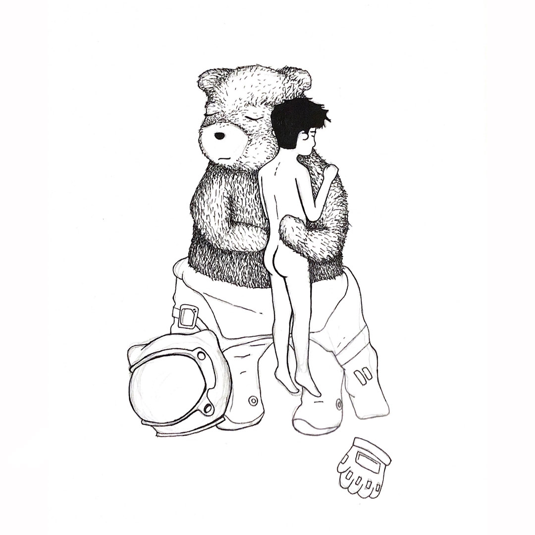 A postcard with an illustrated image of a bear in an astronaut suit holding a boy in the nude.