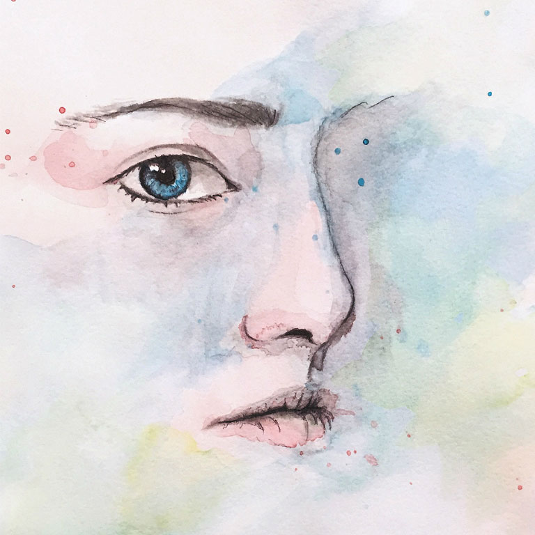 A postcard with a watercolor painting of a face looking out from a cloud of colors.