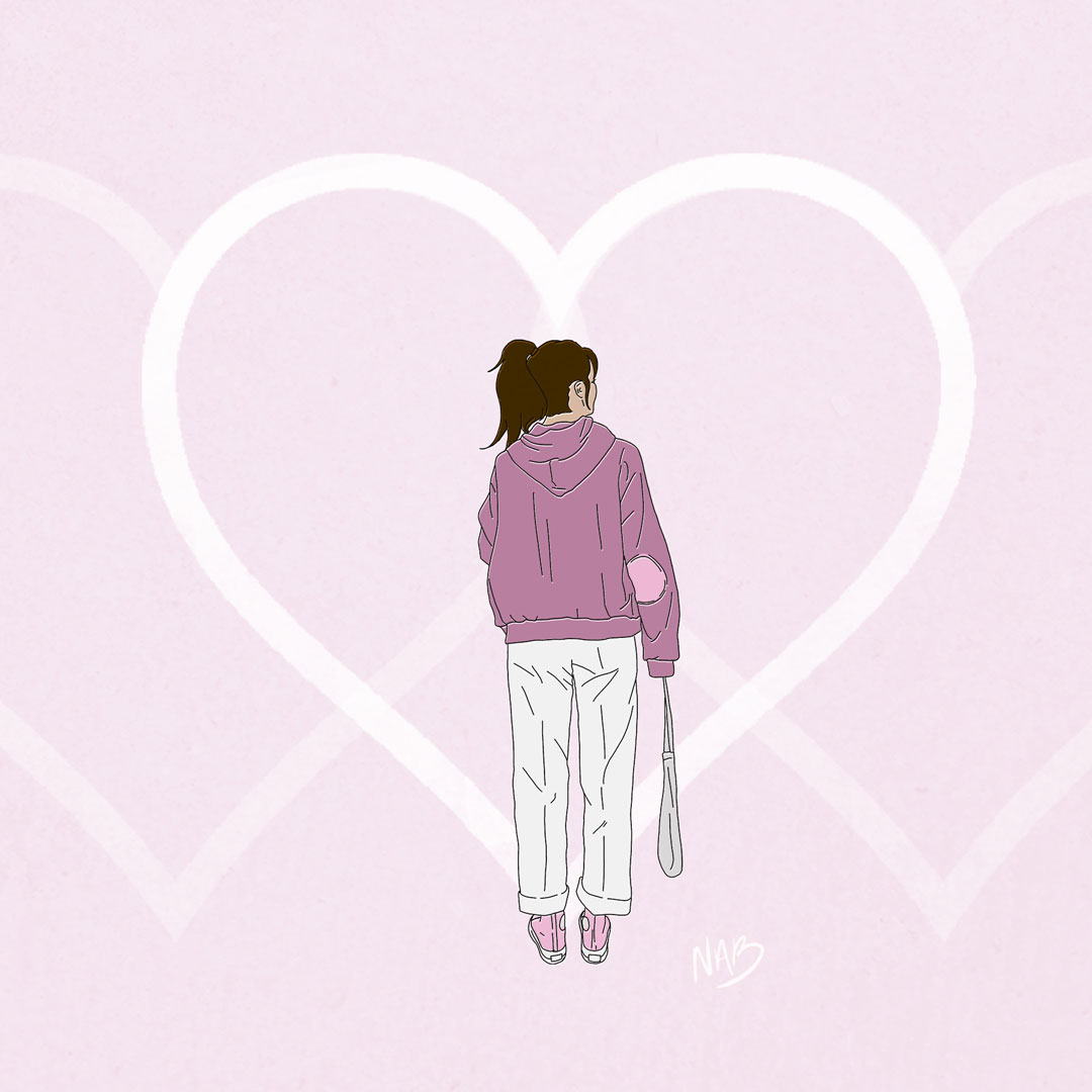 A postcard of a girl standing in the distance. She is framed within a heart.