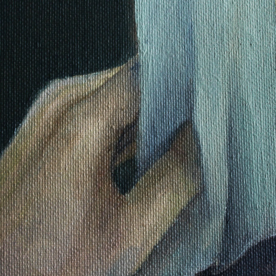 A postcard with a painting of hand reaching out to touch a piece of fabric.