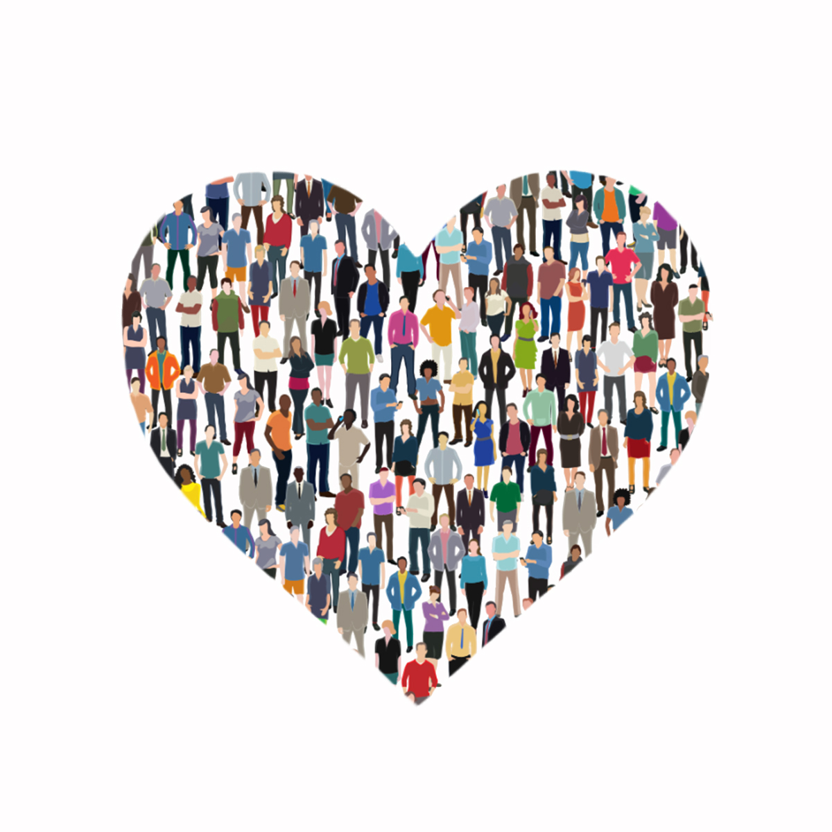 A postcard with an image of a crowd of people standing together to make a heart.