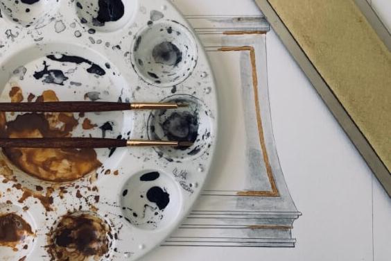 Enchanted Home by Tina Yaraghi watercolor painting of custom range hood design
