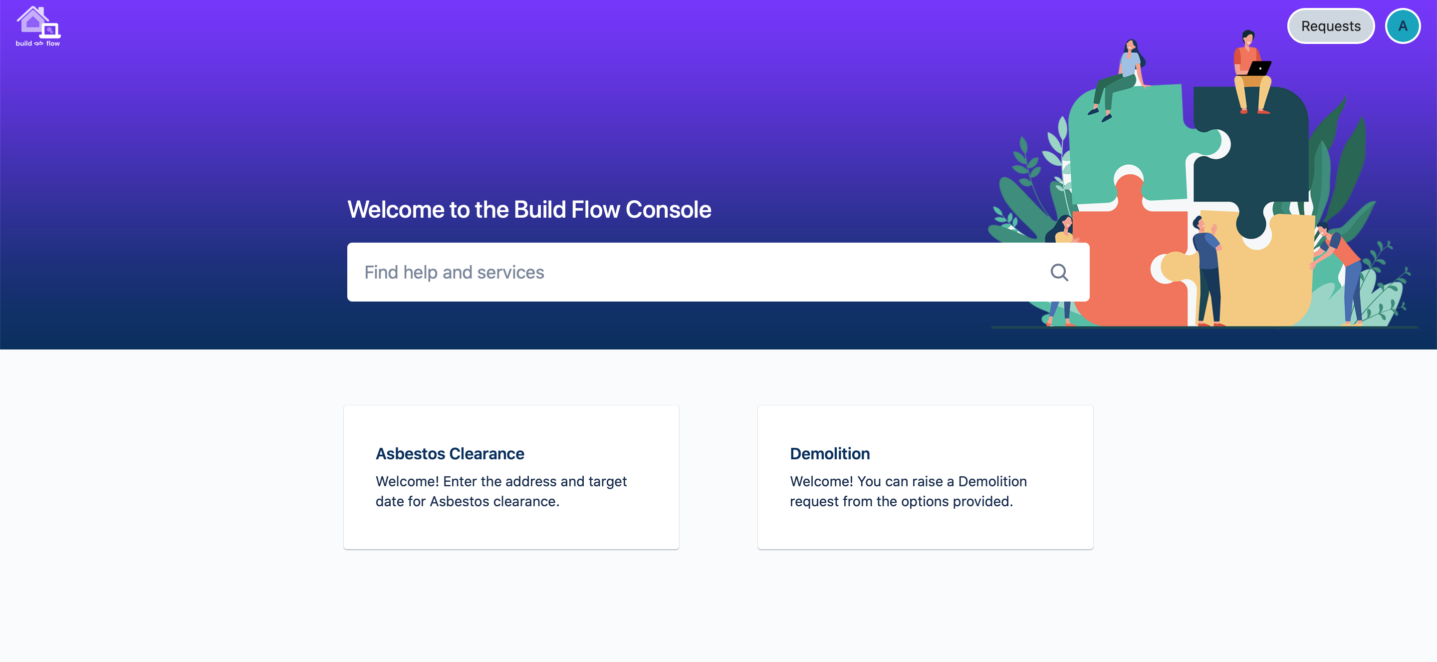 Build Flow's automation console, where you go to submit your construction project or job
