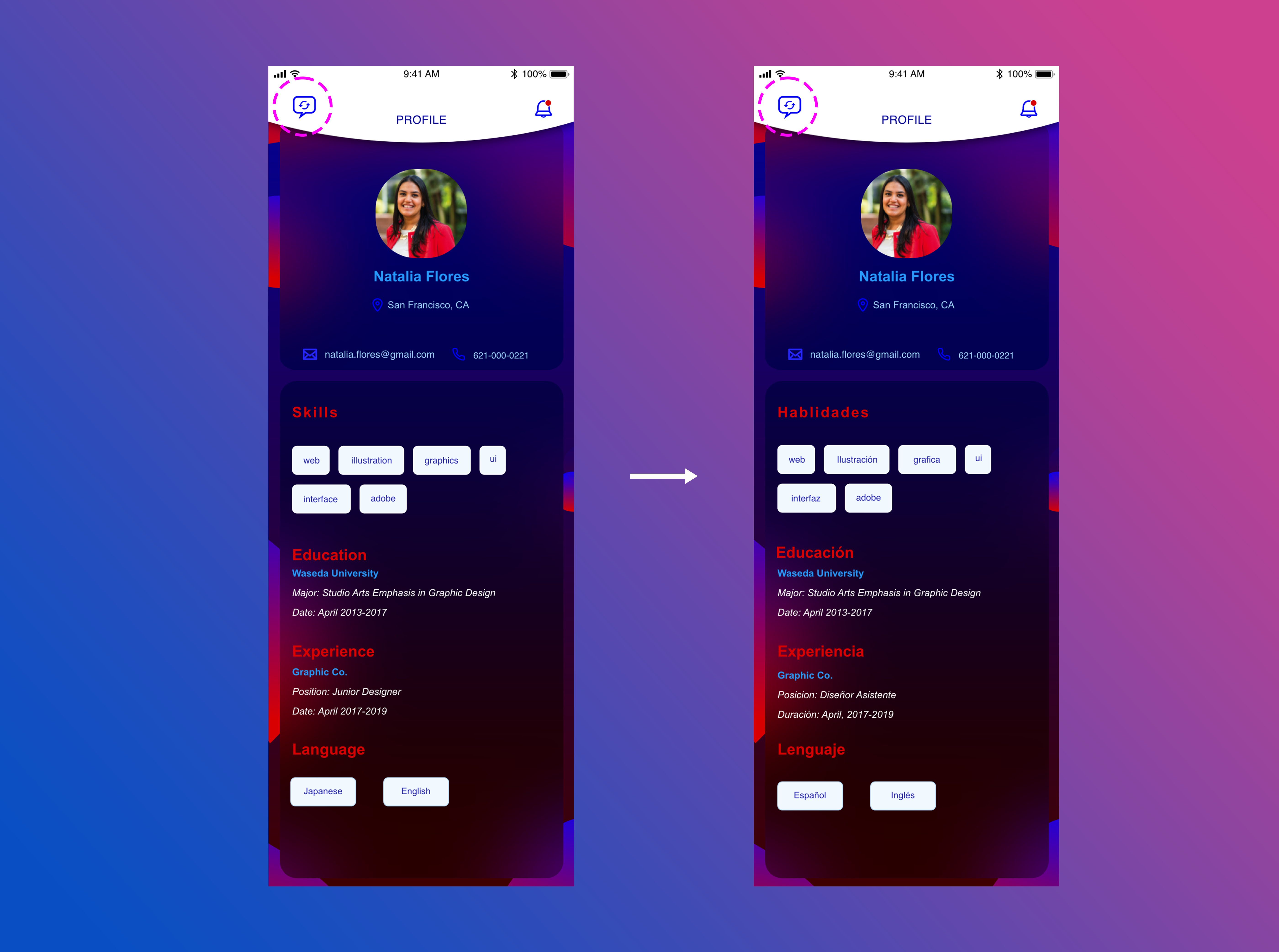 Profile screens featuring translation button