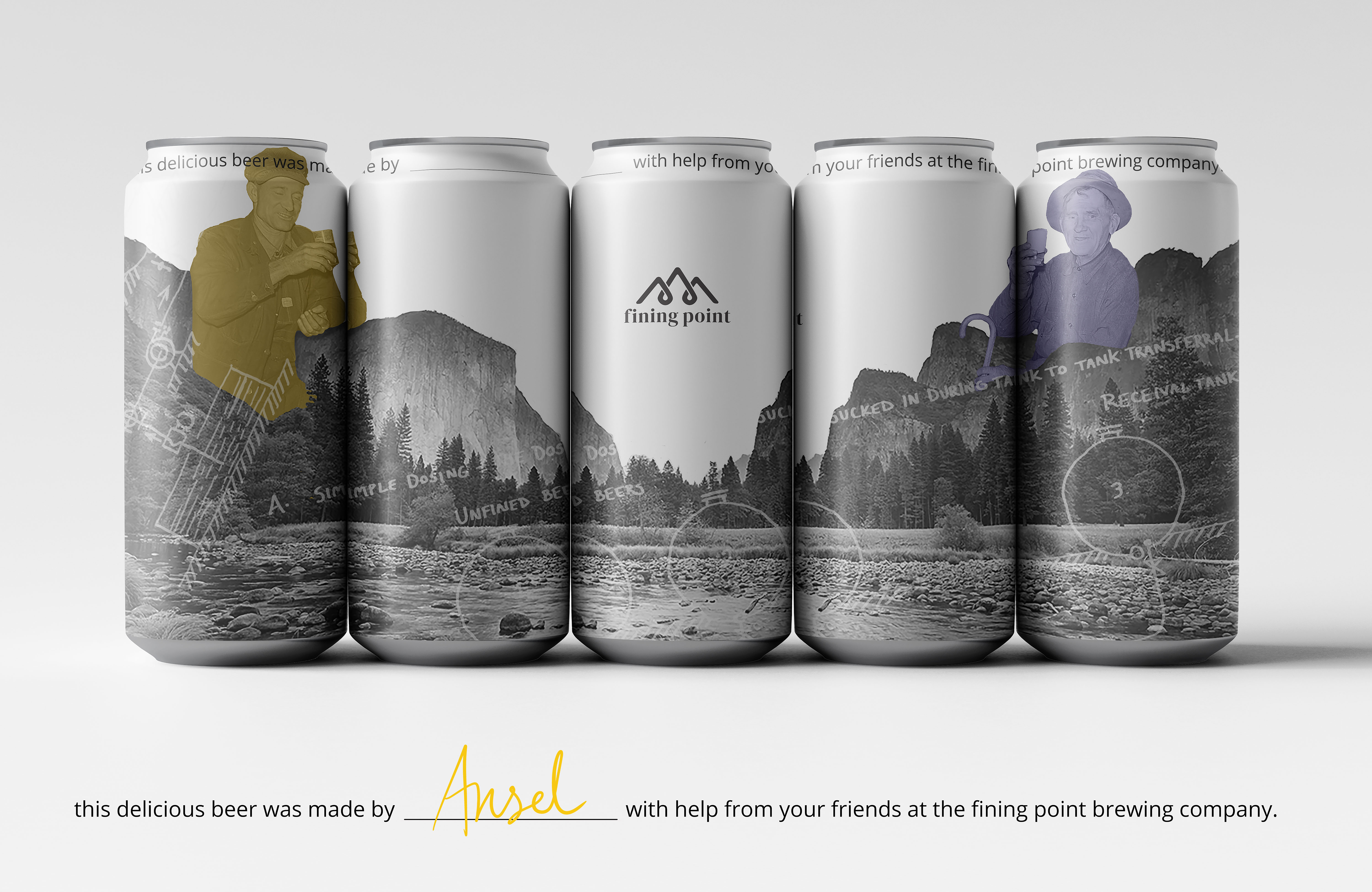 Custom beer cans for fining point brewing company