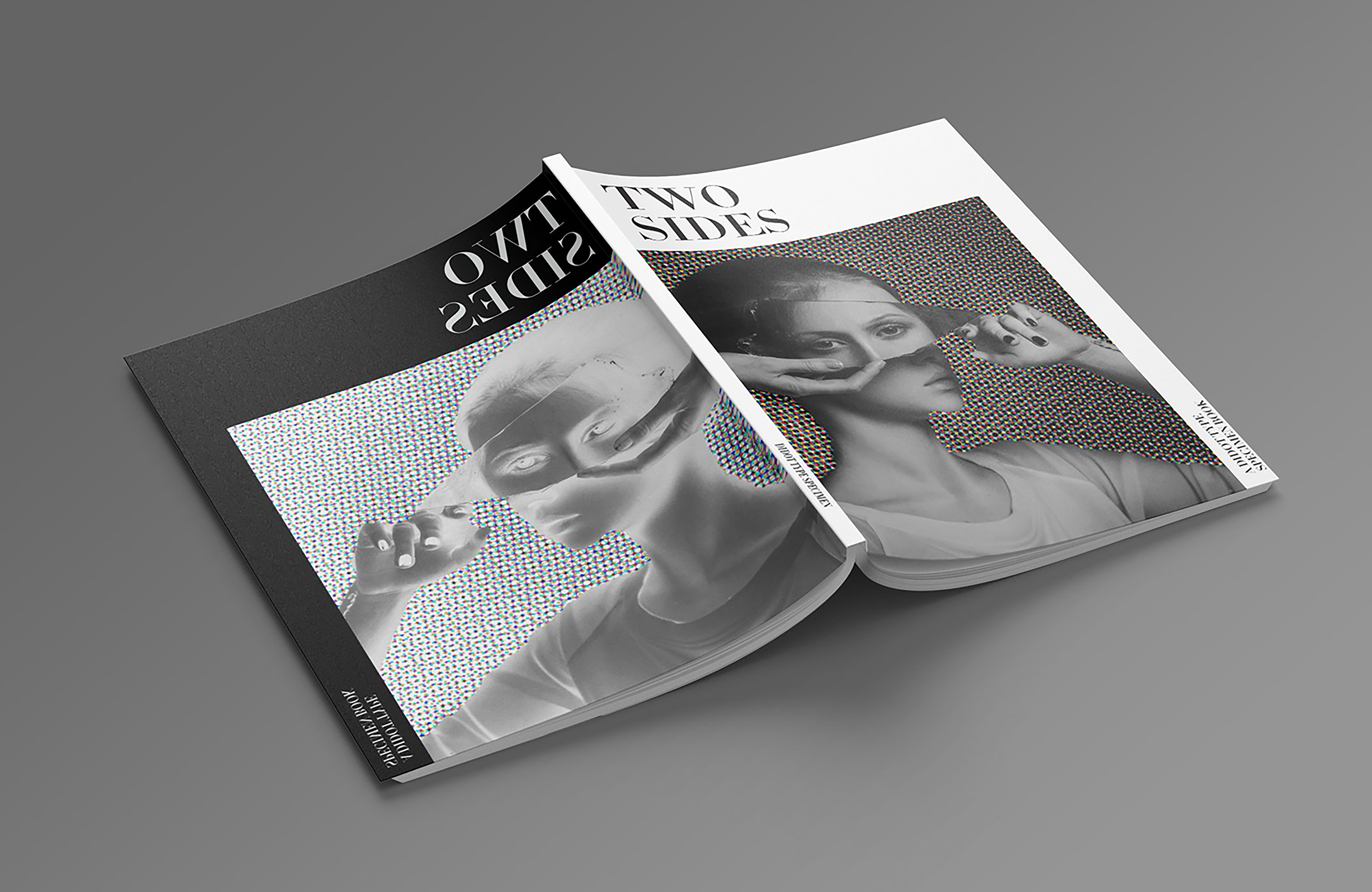 Sample image for the editorial type specimen, Two Sides