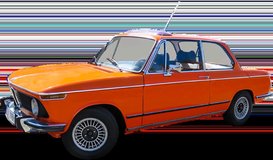 old school orange bmw electric conversion car