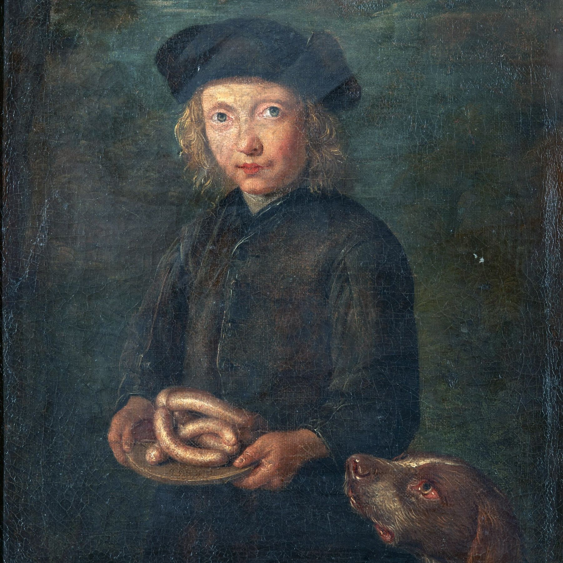 Gosse med Korv och Hund (Boy with Sausage and Dog), Petrus Snyers (1681–1752)