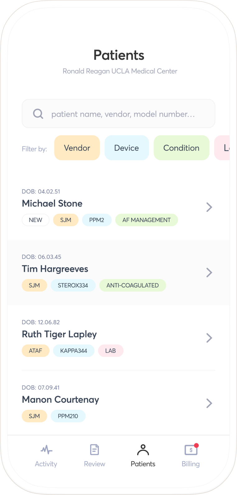 A page of the app showing a patient list inside an iPhone