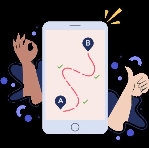 Ilustración de un móvil con una ruta marcada