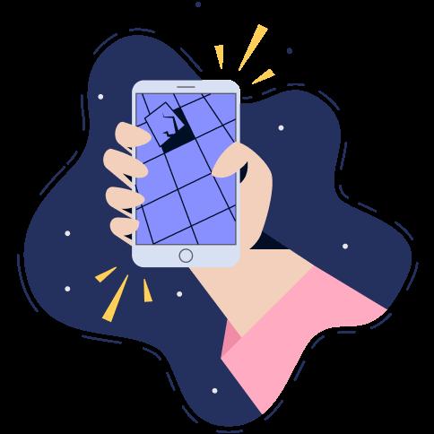 Ilustración de una mano con un móvil fotografiando una incidencia