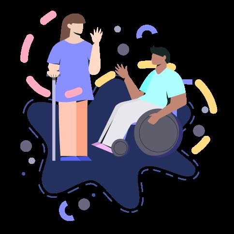 Ilustración de dos personas interactuando