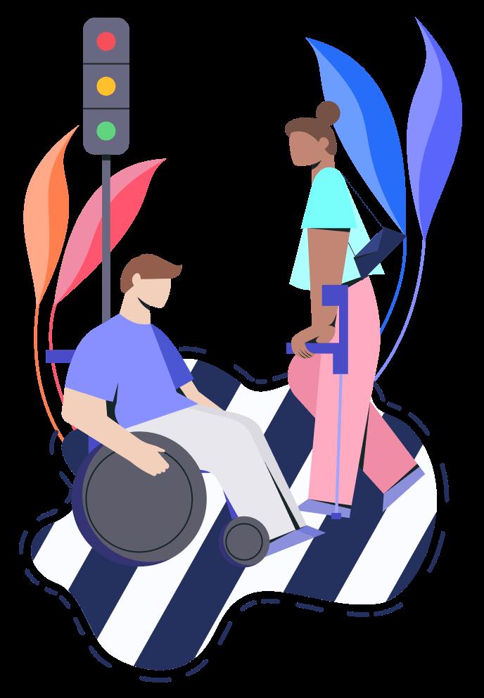 Ilustración de dos personas en una ciudad