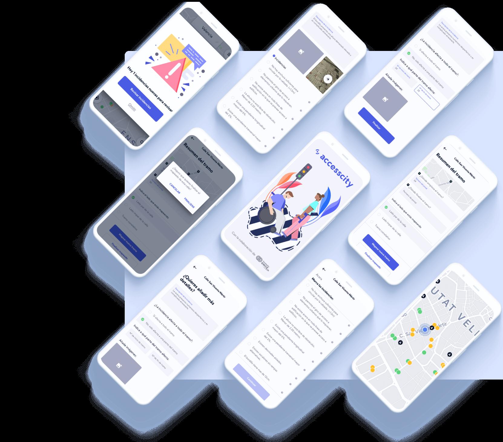 Múltiples pantallas de la aplicación