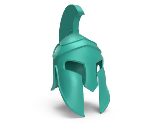 3D Spartan helmet that represents courage