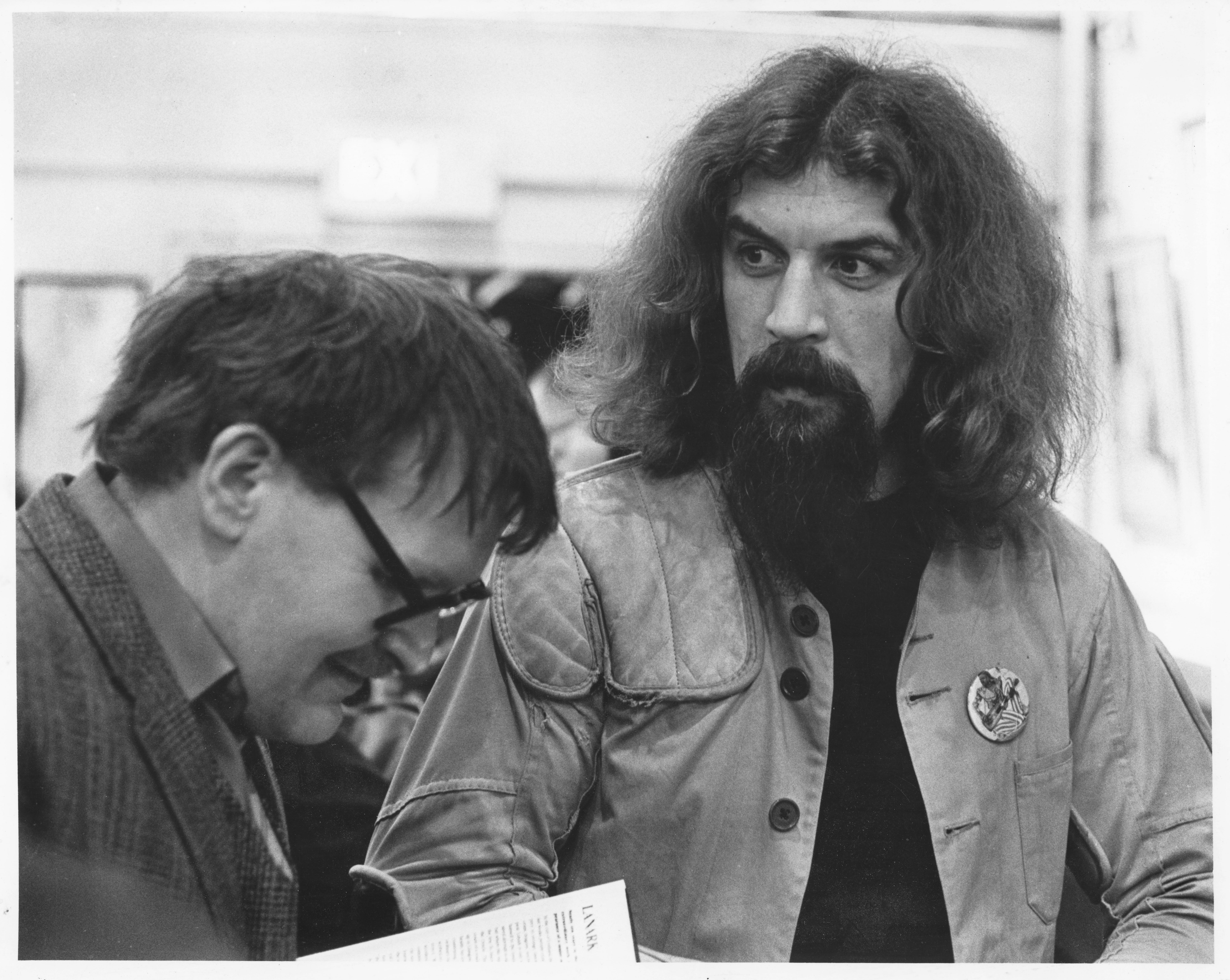 Alasdair Gray and Billy Connolly, Third Eye Lanark Launch. Photo owned by Alan Bissett, Courtesy The Alasdair Gray Archive.