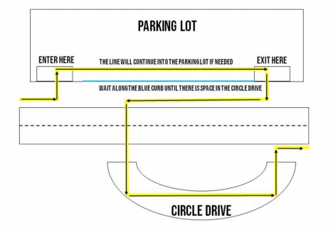 Map of Parking Lot and Pick Up Plan