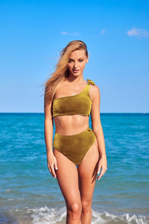 Velvet Ochre high-waisted Capri Bikini