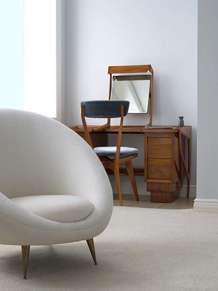 White chair and mirror