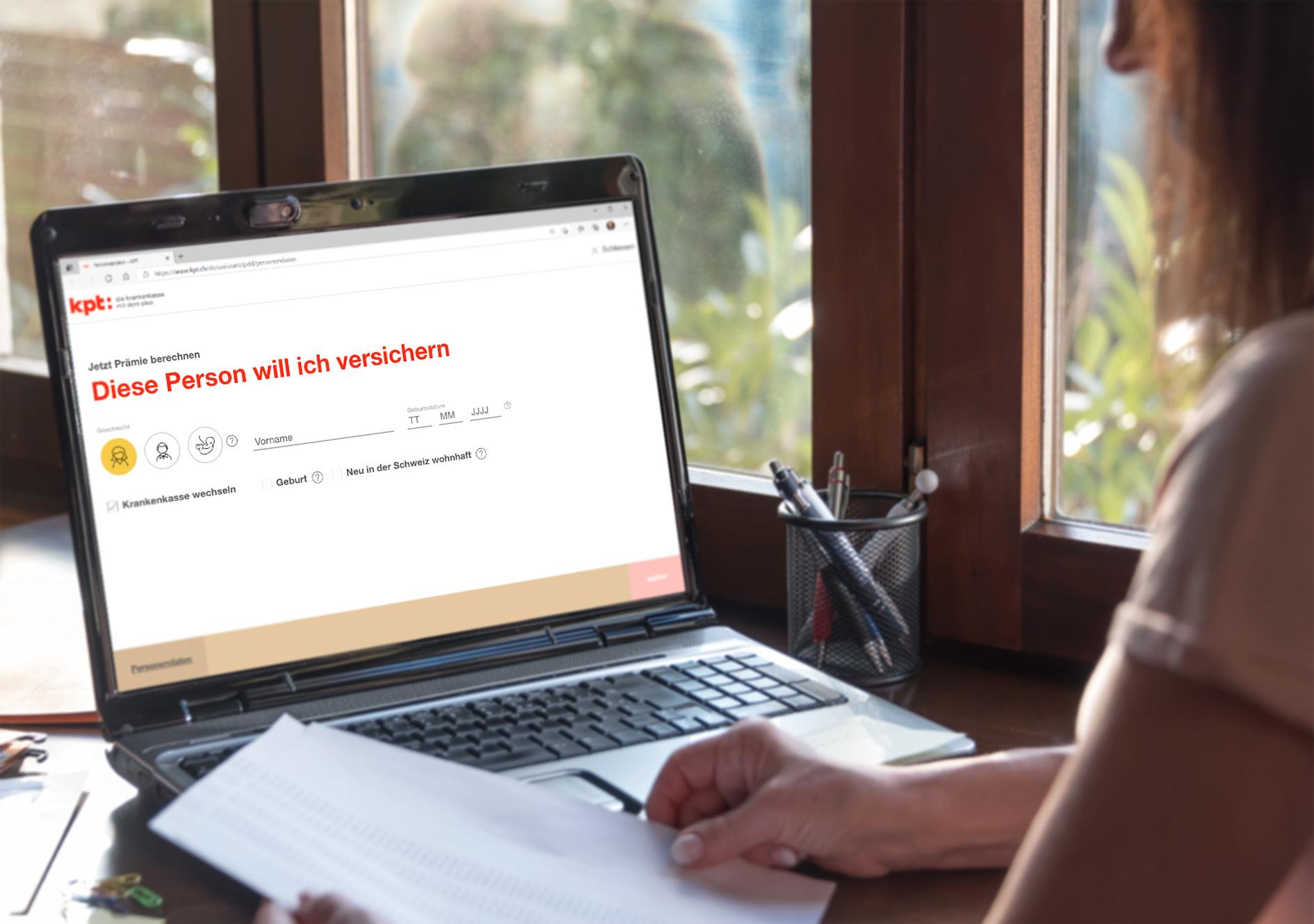 Internetauftritt kpt.ch mit integriertem Prämienrechner