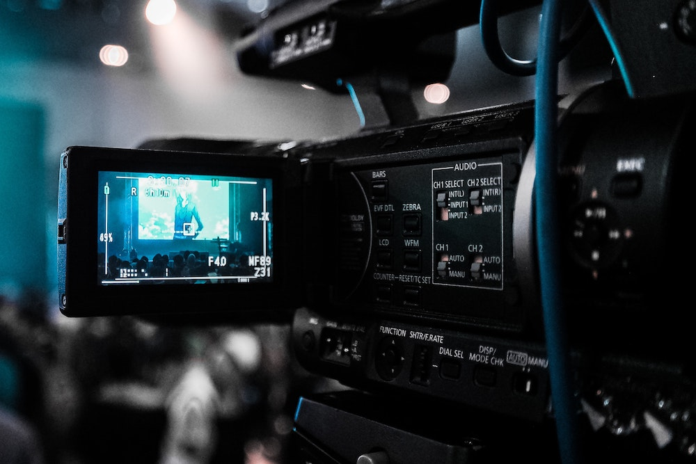 Video camera recording on set