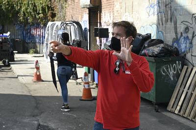 Michael Weatherly directing in mask