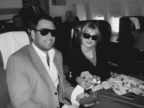 Michael Weatherly and niece Alexandra Breckenridge on airplane