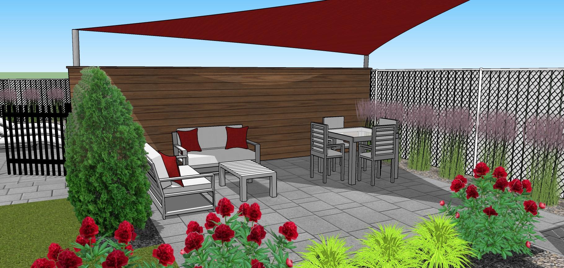 salon extérieur avec sofas sous toile