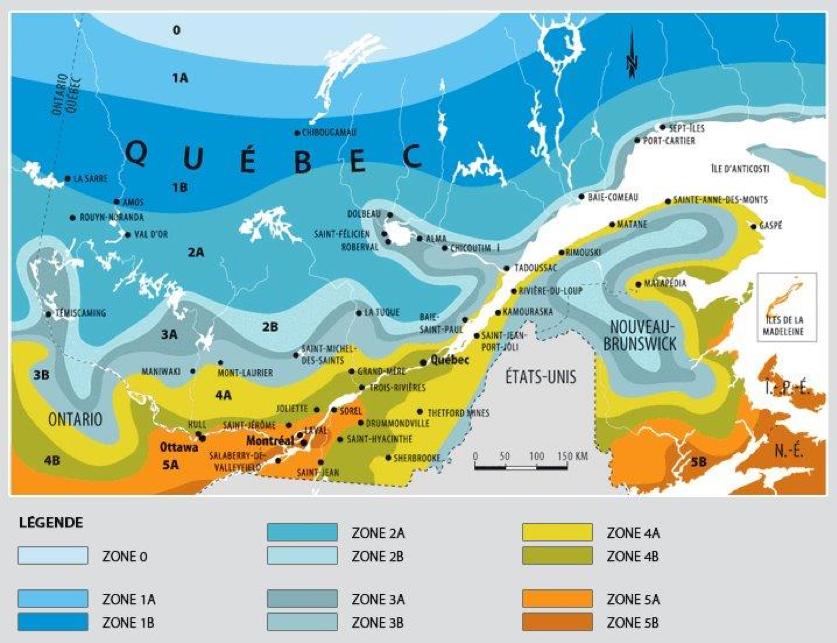 Carte des zones de rusticité du Québec