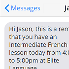 SMS lesson reminders