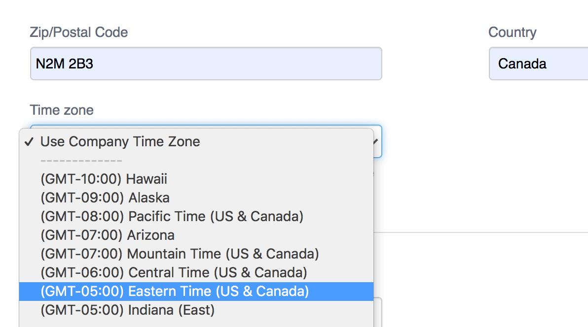 calendar time zones