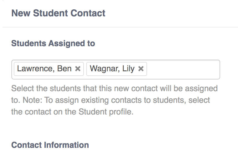 new student contact